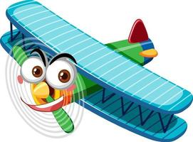 Vintage aircraft with face expression cartoon character on white background vector