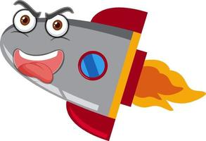Rocketship cartoon with crazy face on white background vector