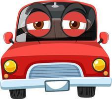 Personaje de dibujos animados de coches de época roja con expresión de cara agotada sobre fondo blanco vector