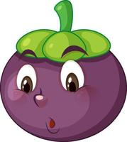 Mangosteen cartoon character with facial expression vector