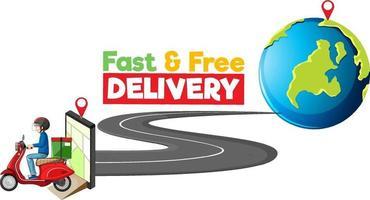 Logotipo de entrega rápida y gratuita con ciclista o mensajero. vector