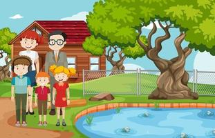 Outdoor scene with member of family vector