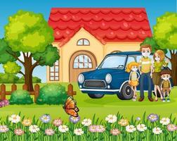 familia feliz de pie fuera de casa con un coche vector