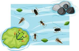 Top view of aquatic insects in the pond vector