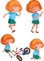 Different poses of girl injured from the accident vector
