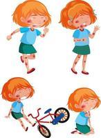 diferentes poses de niña herida por el accidente. vector