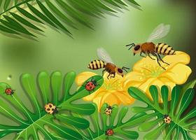 Close up flowers and leaves scene with many bees and ladybugs vector