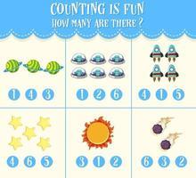hoja de cálculo de conteo de números para niños vector