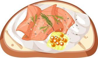 Vista superior de un pan con salmón ahumado y crema vector
