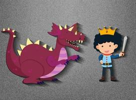 Little knight and dragon cartoon character vector