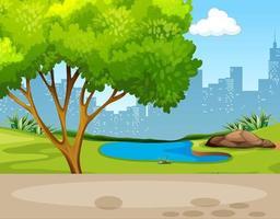 Escena de fondo del parque con un árbol y un pantano. vector