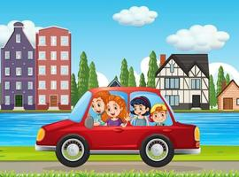 Happy family travelling in the city by red car vector