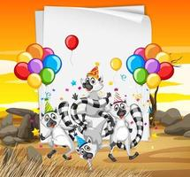Raccoon group in party theme cartoon character on desert background vector