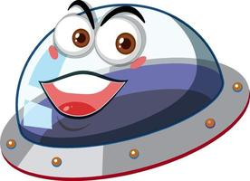 Ufo with happy face expression on white background vector