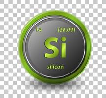 Silicon chemical element. Chemical symbol with atomic number and atomic mass. vector