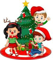 Children wear Christmas costume cartoon character with Christmas tree on white background vector