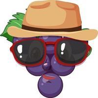 personaje de dibujos animados de uva con expresión facial vector