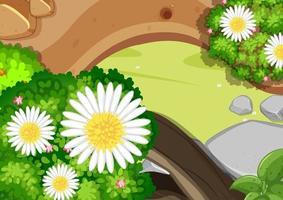 Top view of garden close up scene vector