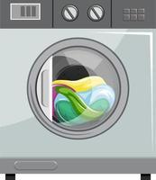 Vista frontal de la lavadora aislada vector