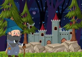 escena del bosque en la noche con un mago de pie junto al castillo vector