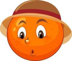 personaje de dibujos animados naranja con expresión facial vector