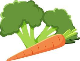 Brócoli y vegetales de zanahoria sobre fondo blanco.