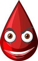 gota de sangre roja con expresión facial vector
