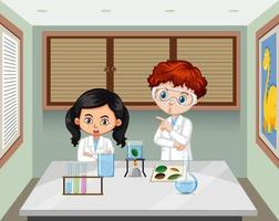dos jóvenes científicos en la escena del laboratorio. vector