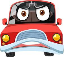 Personaje de dibujos animados de coches de época roja con expresión de cara enojada sobre fondo blanco vector