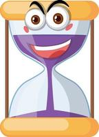 Hourglass with face expression on white background vector