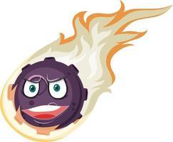 Personaje de dibujos animados de meteorito de llama con expresión de cara enojada sobre fondo blanco vector