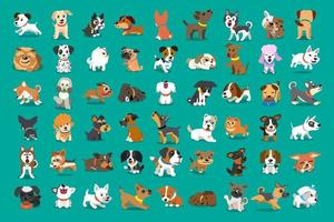 diferentes tipos de perros de dibujos animados de vectores para el diseño.
