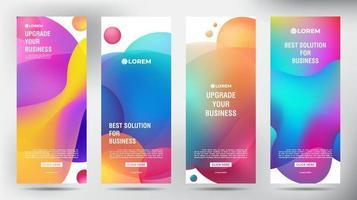 Conjunto de coloridos carteles de volante de folleto comercial enrollable líquido de burbuja