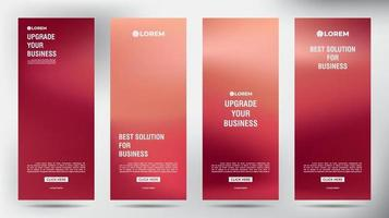 Set of Red Blurred roll up business brochure flyer banners vector