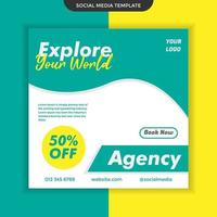 Social media template explore your world travel agency theme