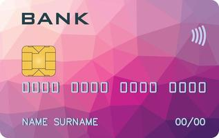 Bank card prototype with triangle background. Abstract bank, abstract payment system.