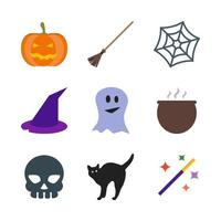 Set of Halloween icons. Includes pumpkin broom spider web, hood, ghost, pot, skull, cat and magic wand.
