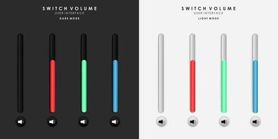 Minimalist Switch Potrait Volume in Neumorphism Design. Simple, modern and elegant. Smooth and soft 3D user interface. Light mode and Dark Mode. For website or apps design. Vector Illustration.