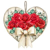 Watercolor shabby chic rustic white wooden heart tag with red roses vector
