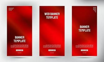 Set of Red neon roll up business brochure flyer banners vector
