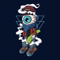 One eye character skateboard vector illustration