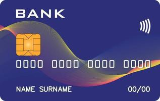 Bank card prototype with abstract wave background. Abstract bank, abstract payment system. The best illustration of the credit cards on the Internet.