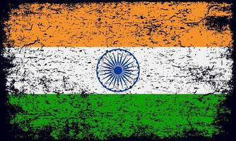 National flag of India in rusty grunge textured effect vector