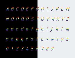 Rainbow flag colors font, letters and numbers