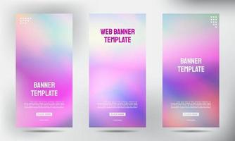 Conjunto de diseño de banner de flyer folleto comercial enrollable borrosa vertical