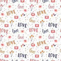 Seamless pattern with big collection of love objects and symbols for Happy Valentines day. Colorful flat illustration. vector