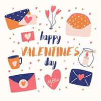 Big collection of love objects and symbols for Happy Valentines day. Colorful flat illustration. vector