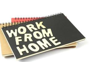 Work from home letters on notebook