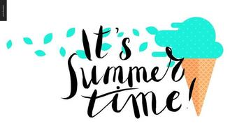 it s summer time, lettering and mint ice cream vector