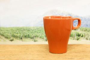 Orange mug in front of a field photo